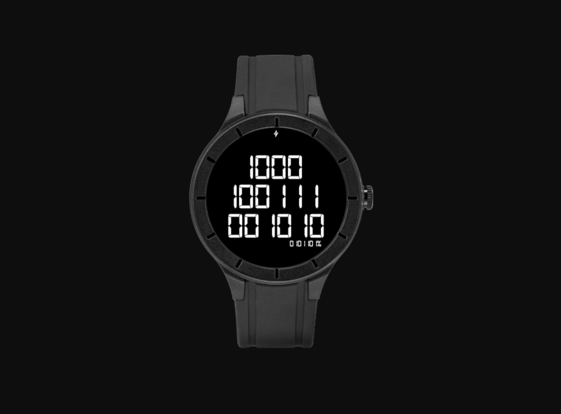 QnA VBage Binary Watch Face brings the 1s and 0s to your Wear OS smartwatch because why not
