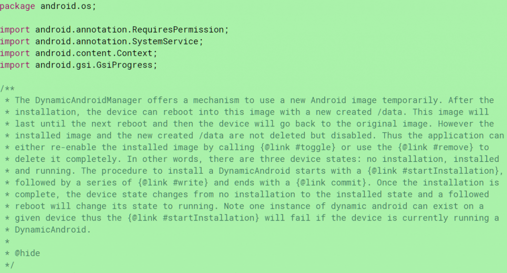 Dynamic Android in Android Q