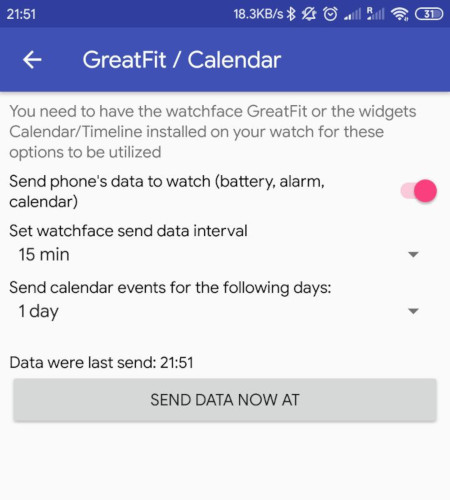 Widget Timeline Shows Your Calendar Events On The Amazfit