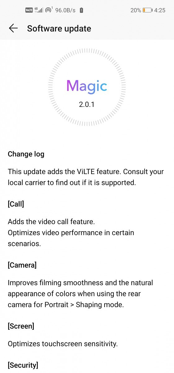 Honor View 20 Magic UI 2.0.1 update