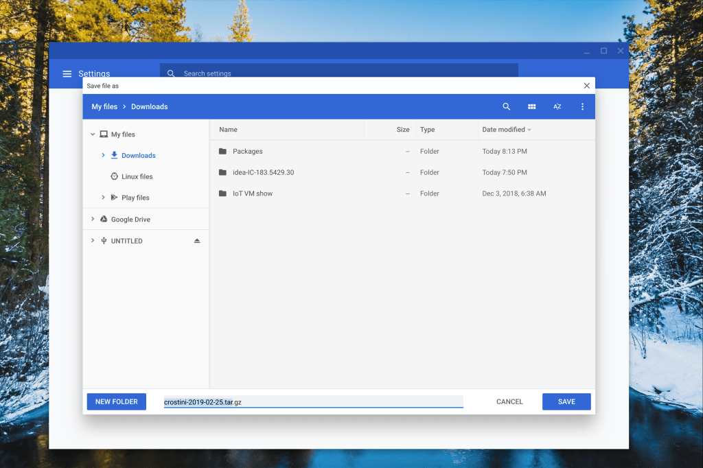 Chrome OS 74 adds support for backing up the Linux container