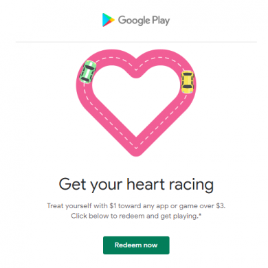Google celebrates Valentine's Day with $1 toward any app/game over $3 in the Play Store