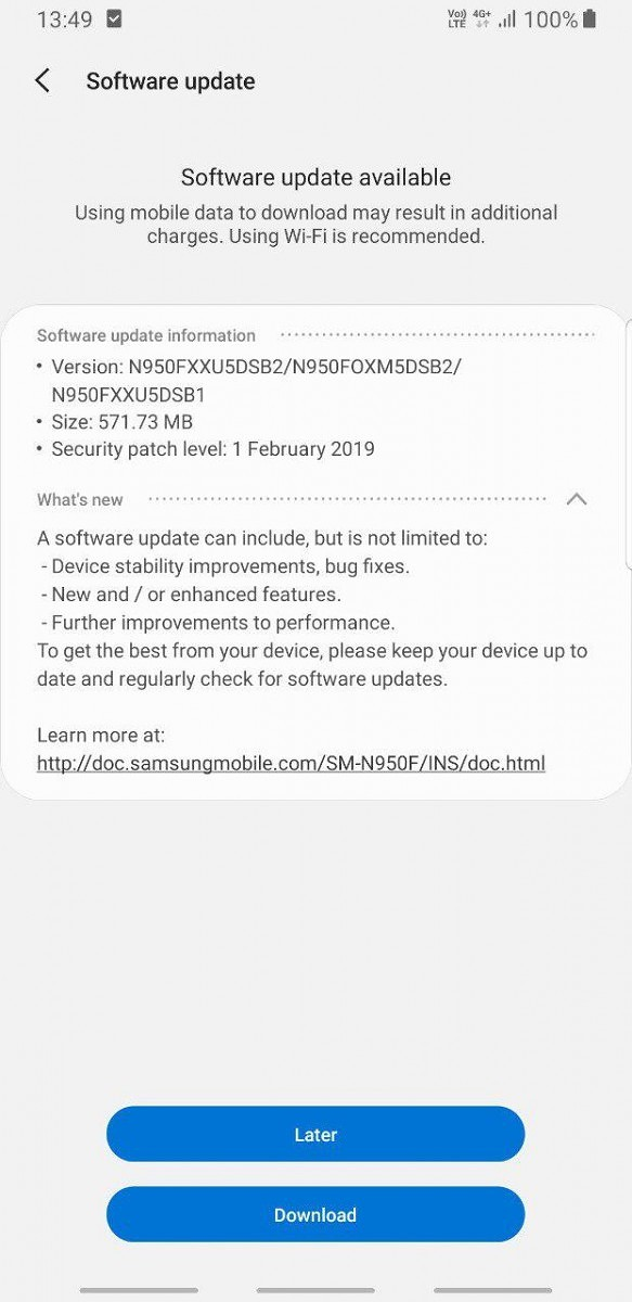 Samsung Galaxy Note 8 gets One UI with Android Pie in Europe