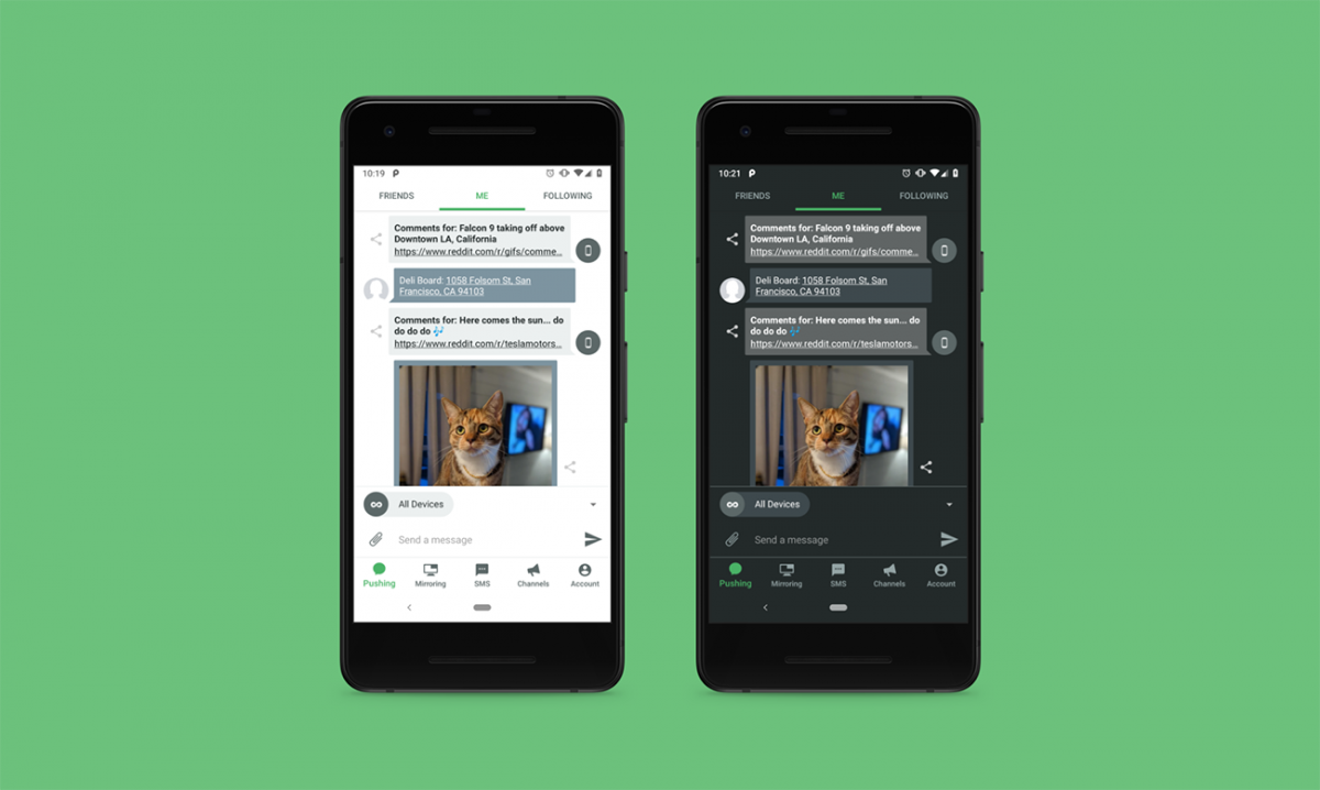 Pushbullet gets updated with a Material Theme redesign, dark mode