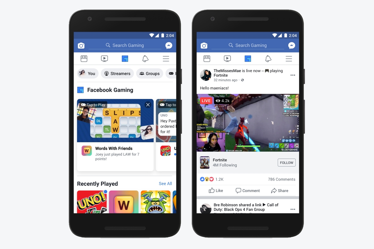 Facebook for Android is getting a dedicated gaming tab