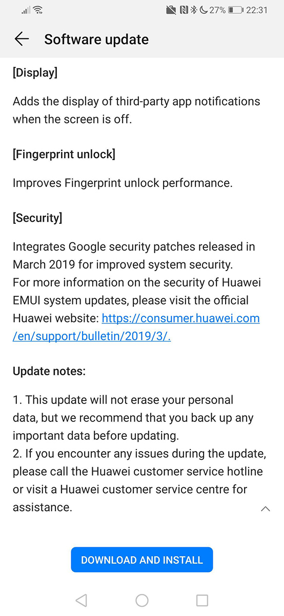 Huawei P30 Pro's first update lets third-party notifications show