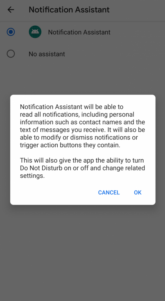 Notification Assistant in Android Q