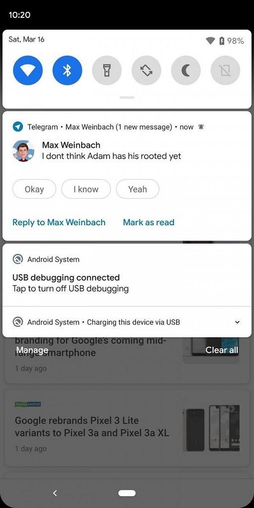 Notification smart reply via Notification Assistant in Android Q beta