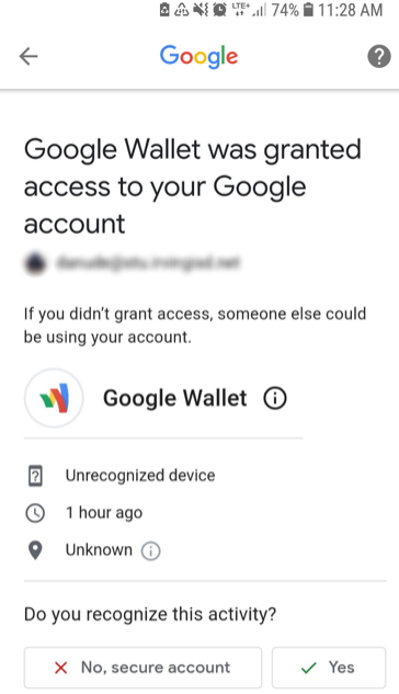 A fake Google Wallet app is being given access to Google accounts
