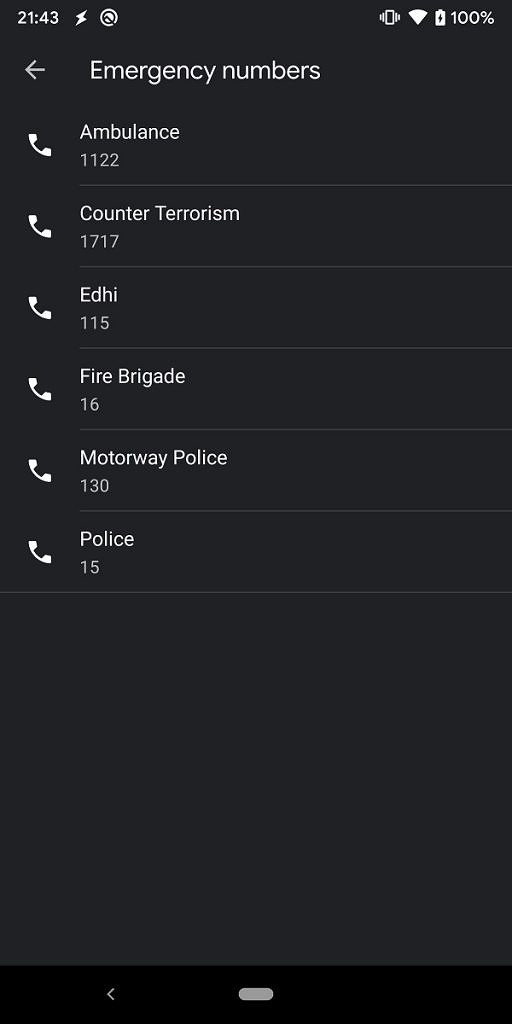 Google Contacts Emergency Numbers