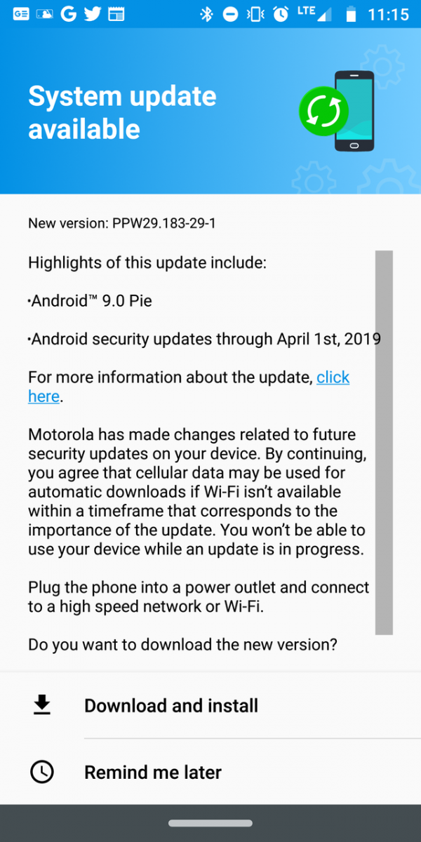 Update: For real this time] Motorola Moto Z3 Play Android Pie update