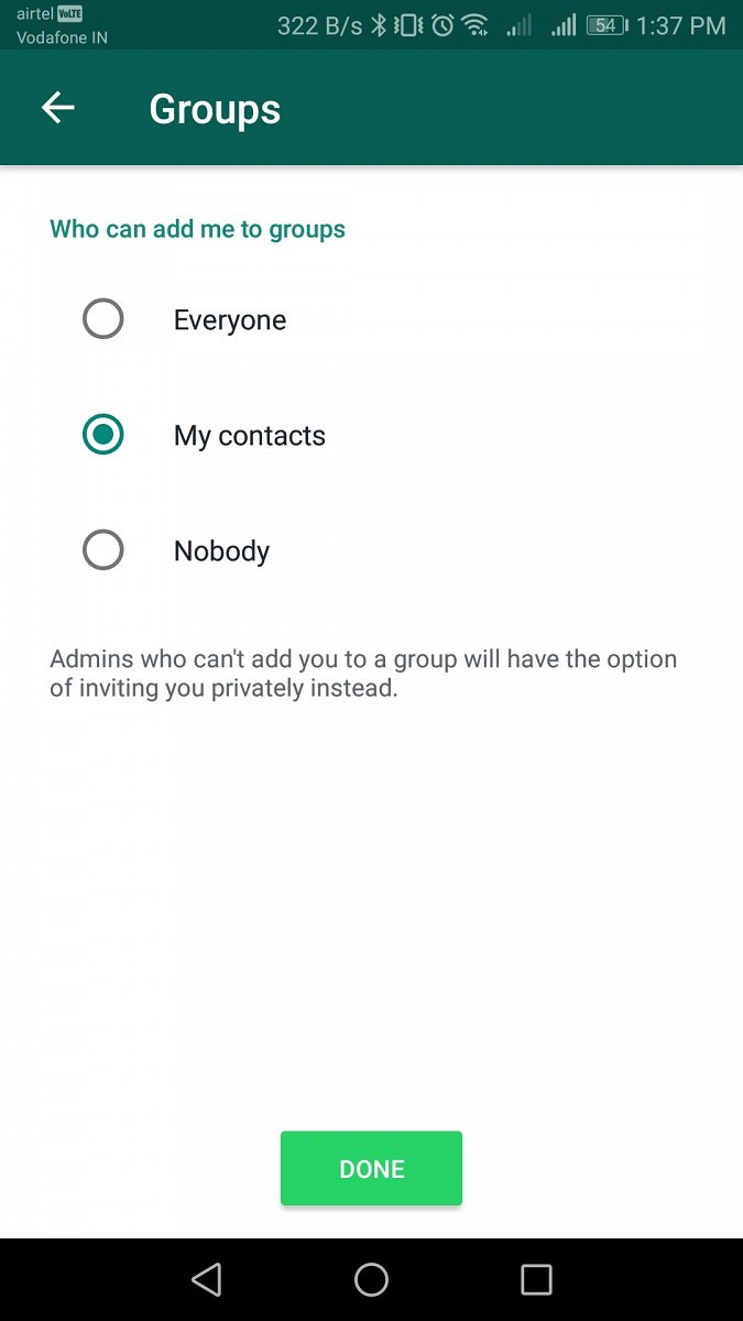 whatsapp group privacy