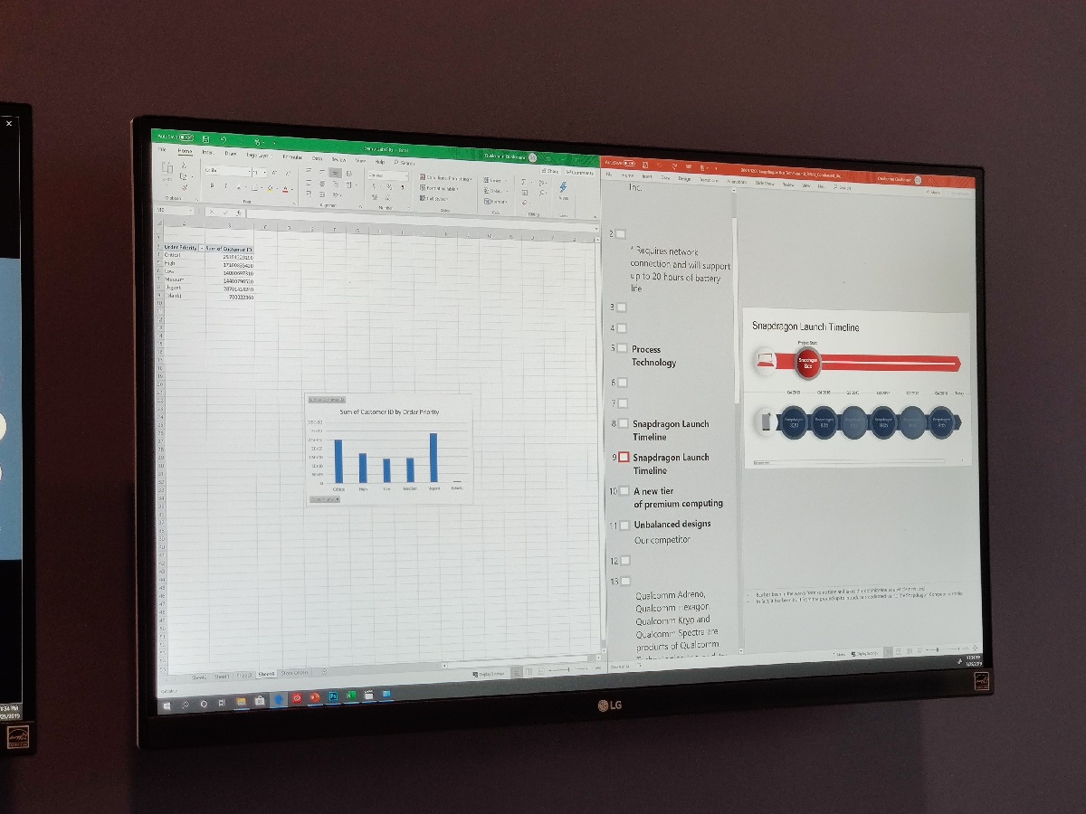 Microsoft Excel and Microsoft PowerPoint running on the Snapdragon 8cx on Windows 10