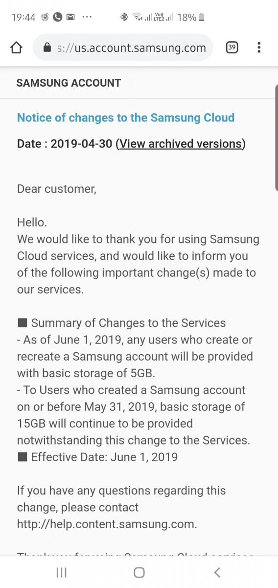 Samsung Cloud drops free storage from 15GB to 5GB as Google