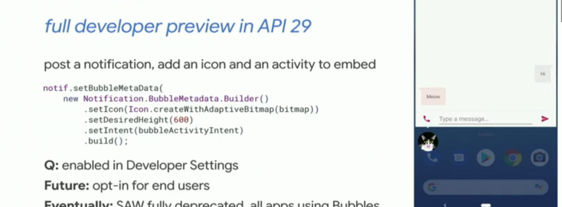 Bubbles in Android Q will fully replace the overlay API in a future Android version