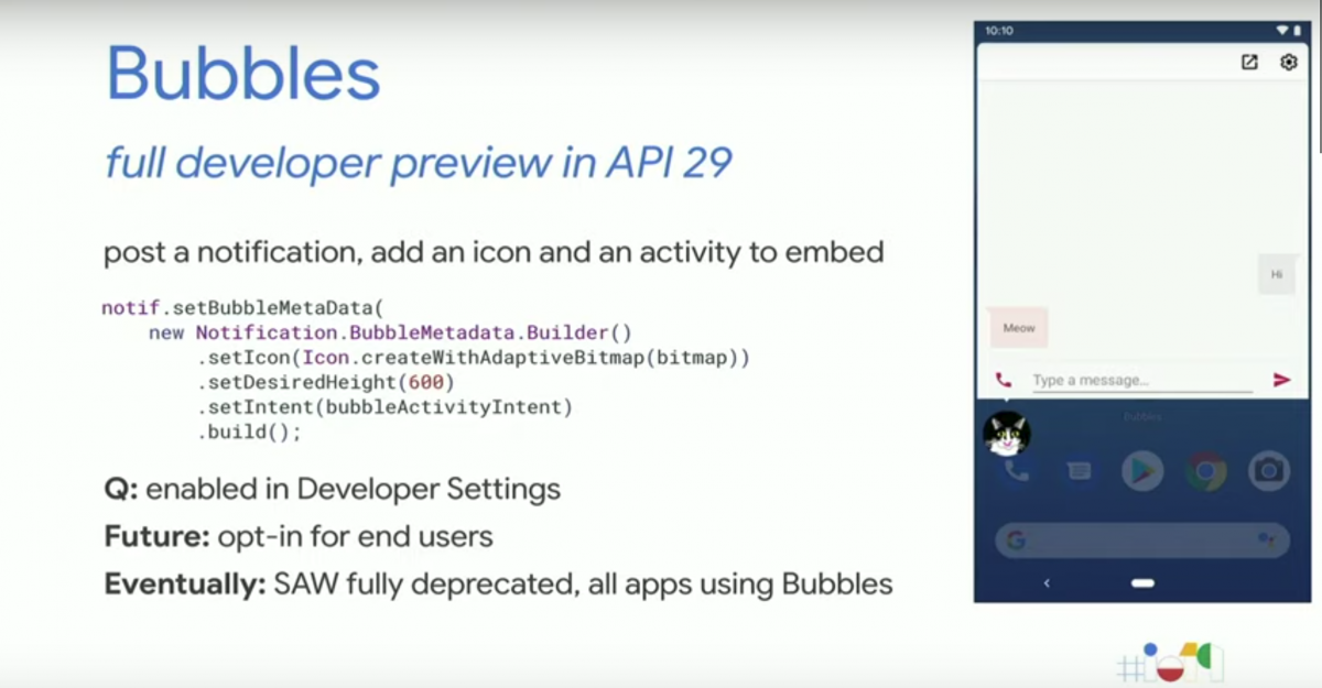 Bubbles in Android Q will replace the overlay API in a future
