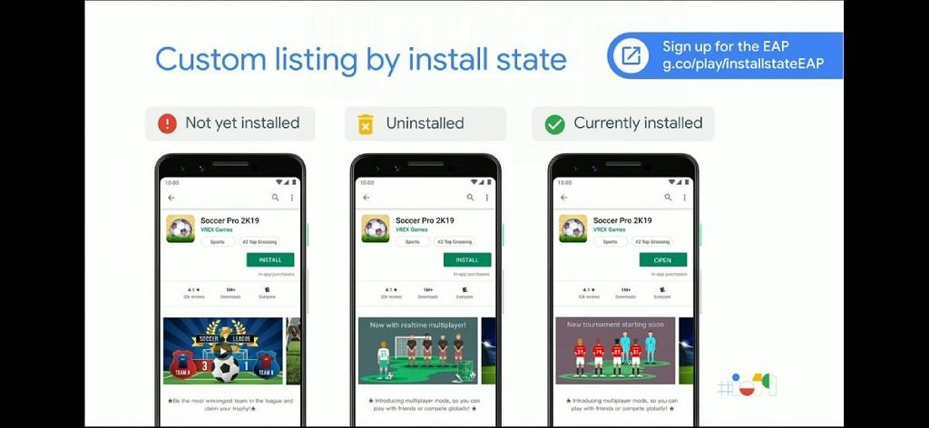 Custom install listing based on install state