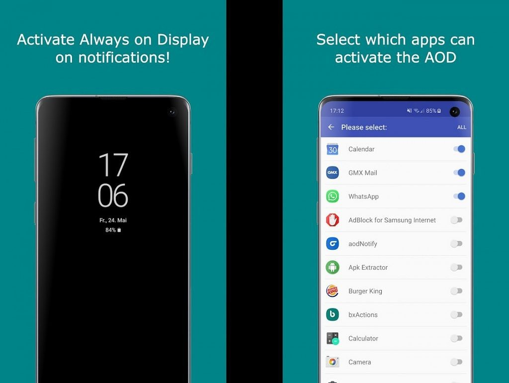 aodNotify toggles the AOD when you get a new notification on