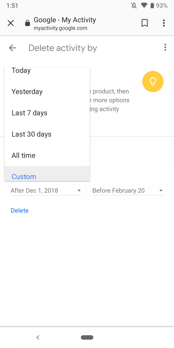 google activity delete automatic