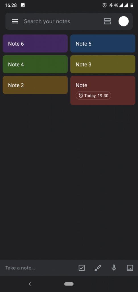 google keep notes dark mode