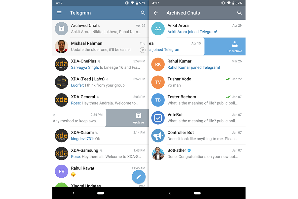 Telegram 5 6 adds archived chats, quick bulk actions, and more