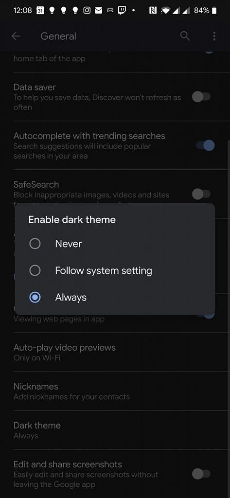 Google App dark theme