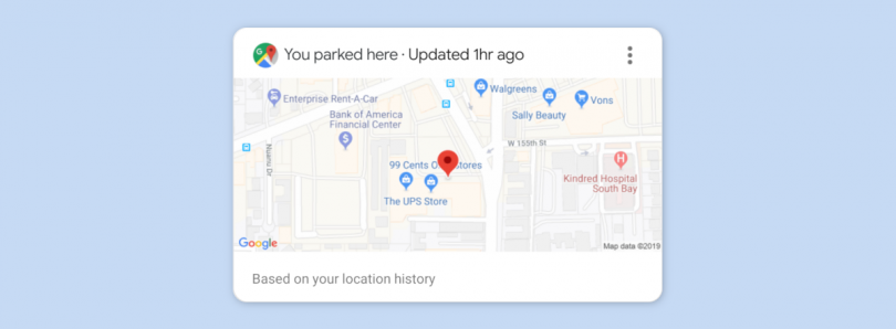 Google brings back the automatic parking location card in Google Assistant