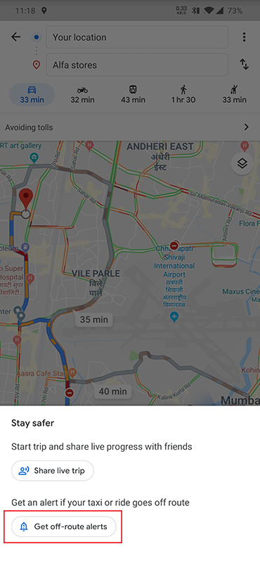 google maps off route