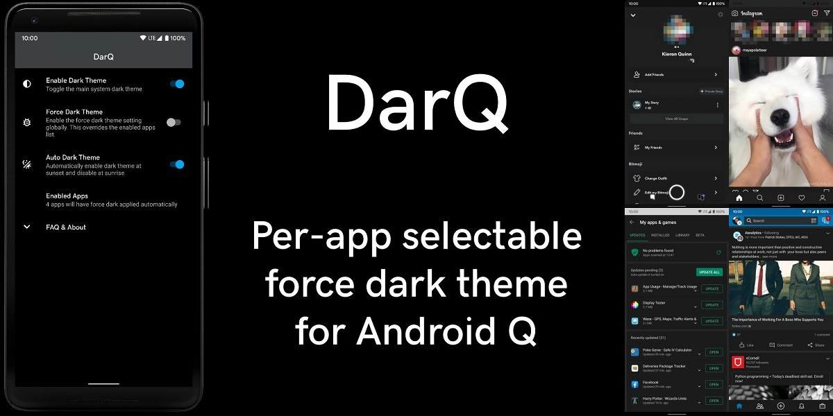 DarQ lets you toggle Android Q's force dark mode on a per-app basis