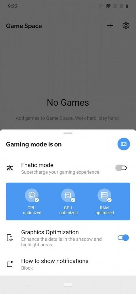 OnePlus 7 Pro Game Space in Android Q DP3