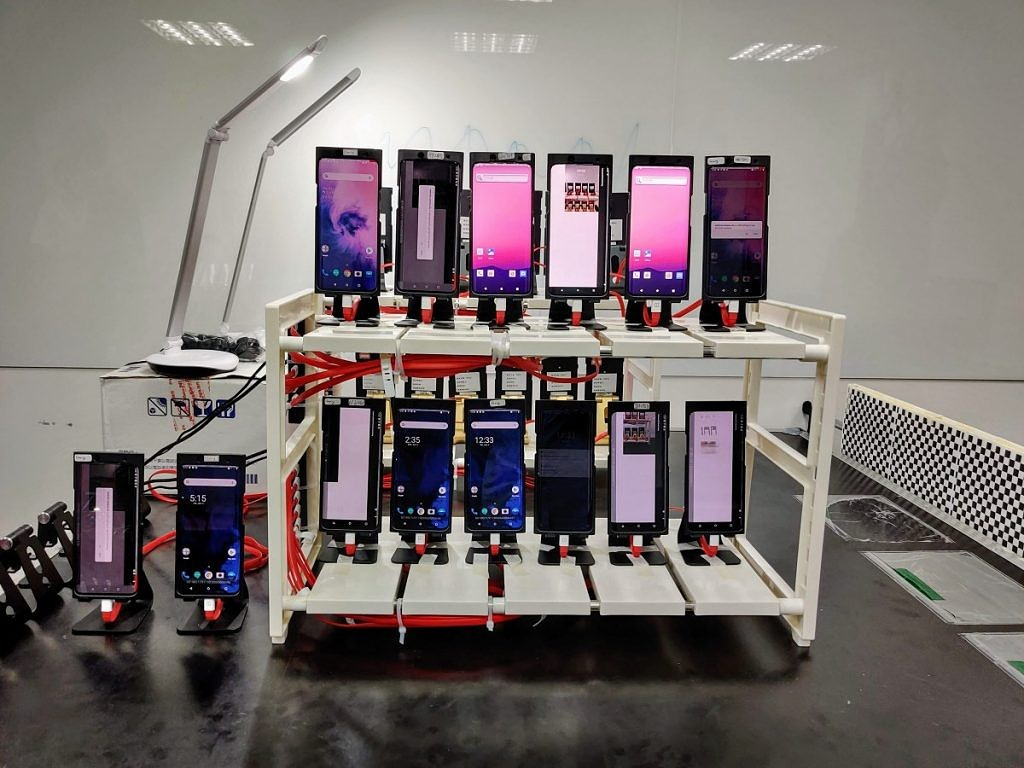OnePlus Taiwan Camera Lab showing test bench of devices