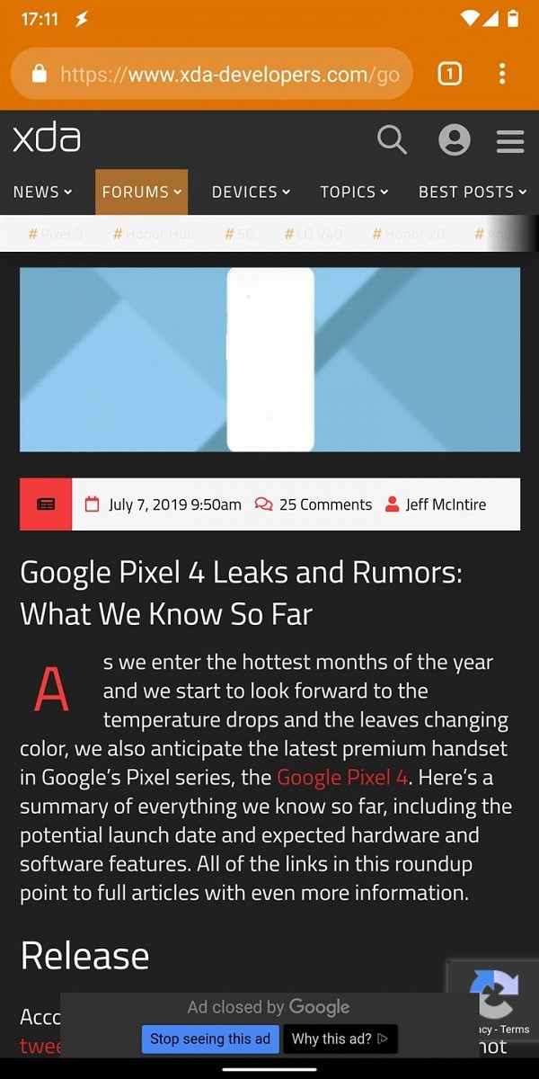 Google Chrome 77 improves dark mode for web pages by no