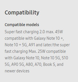 Samsung Galaxy A90 and Galaxy A91 mentioned on 45W charger page