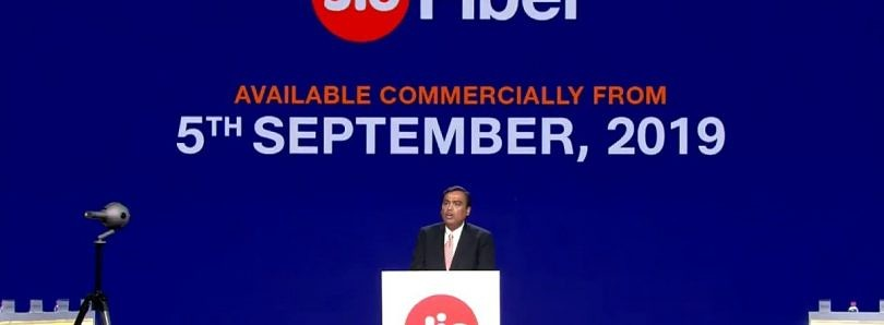 [Update: Plan Details] Reliance Jio Fiber to launch commercially in India from September 5 with ₹699 ($10) monthly plan