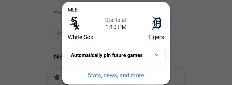 Google can now automatically pin live scores of future sporting events
