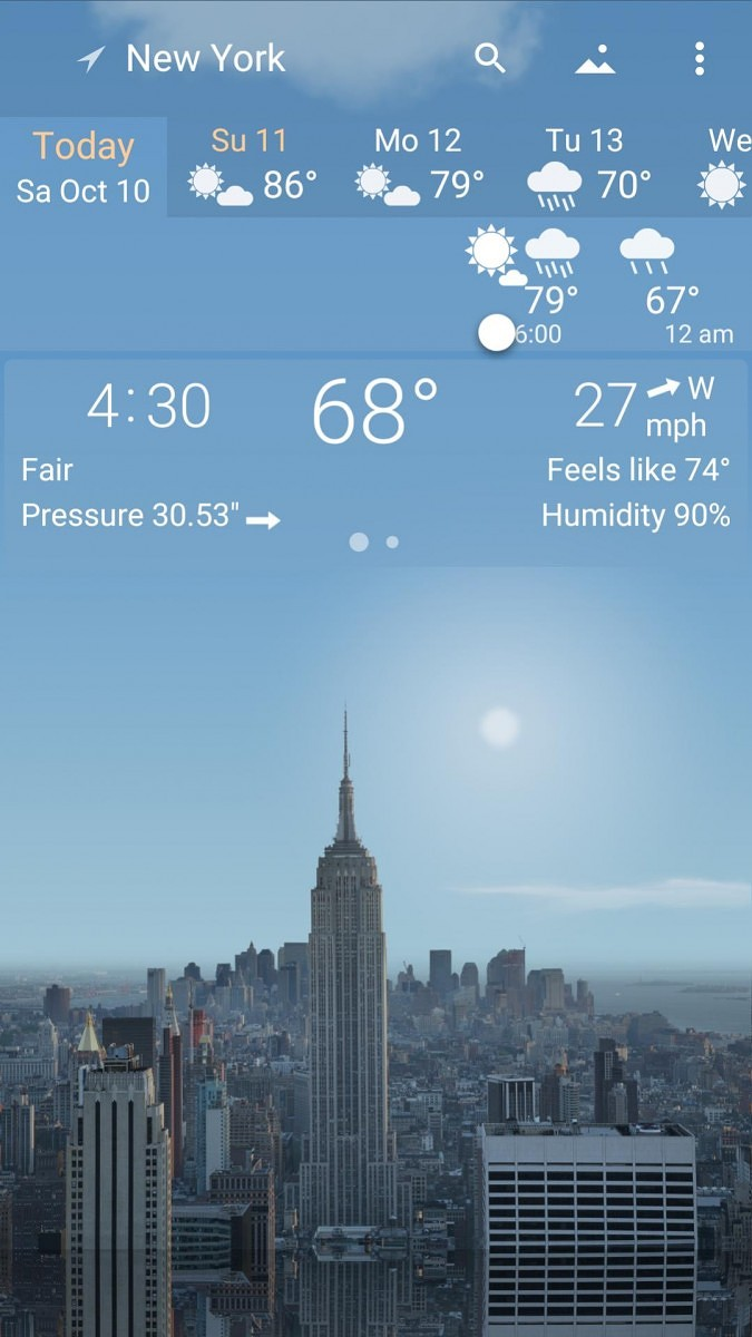 YoWindow is a weather app that changes based on current