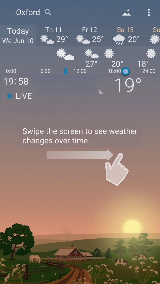YoWindow is a weather app that changes based on current conditions