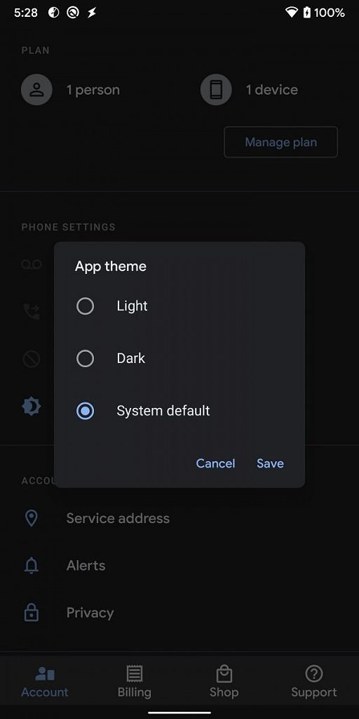 Google Fi dark theme