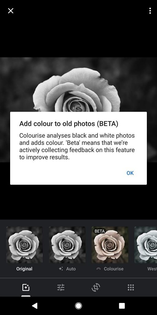 Google Photos colorize