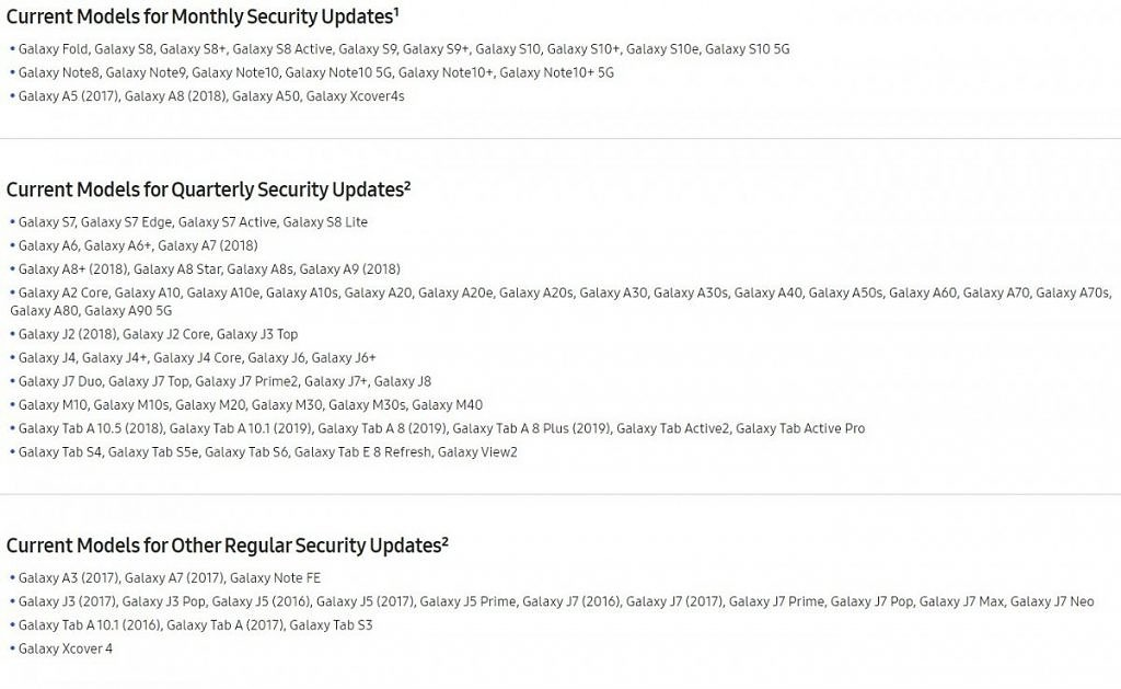 Samsung Android security update list