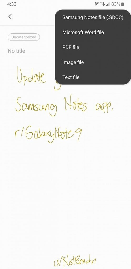 Samsung Notes Update
