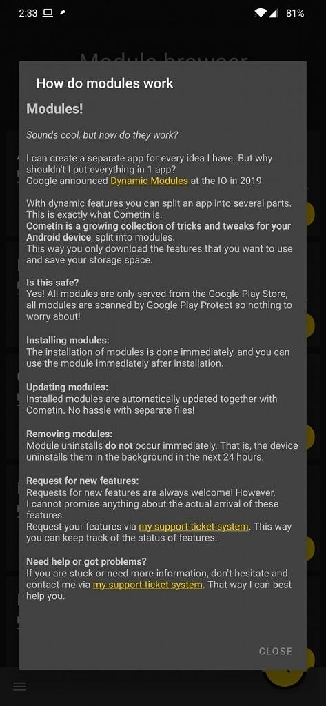 Cometin Android App