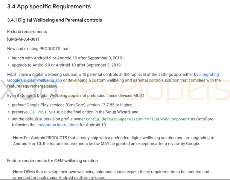Digital Wellbeing and Parental Controls requirements