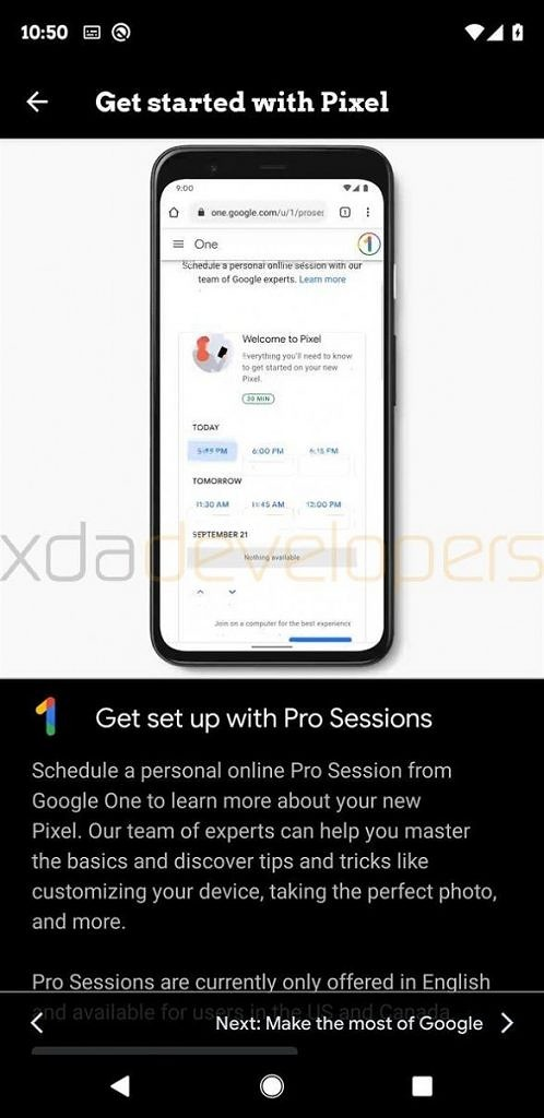 Google Pixel 4 Pro Sessions in Google One