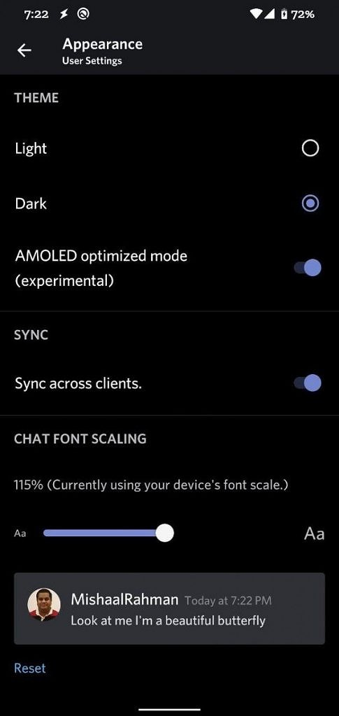 Discord AMOLED dark mode