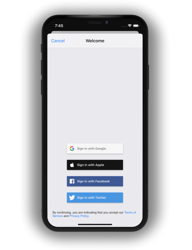 Sign in with Apple button in a Firebase app