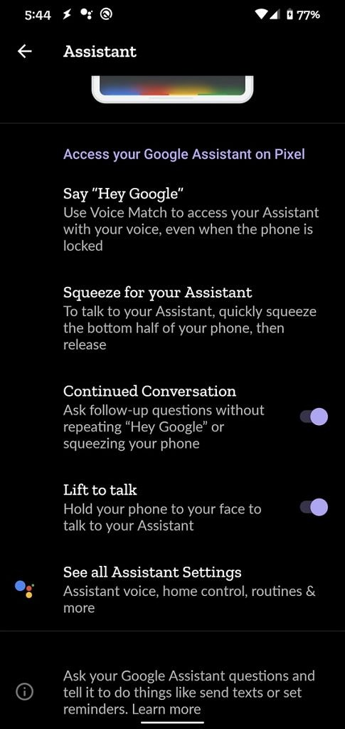 Google Assistant Lift to Talk setting