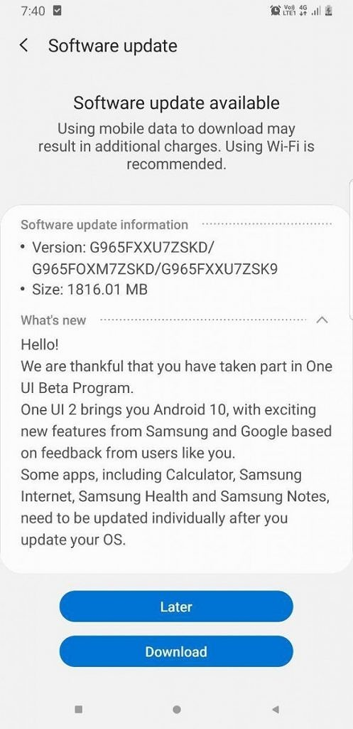 One UI 2.0 beta Galaxy S9+