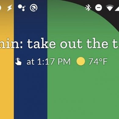 At A Glance widget tests showing Google Assistant reminders