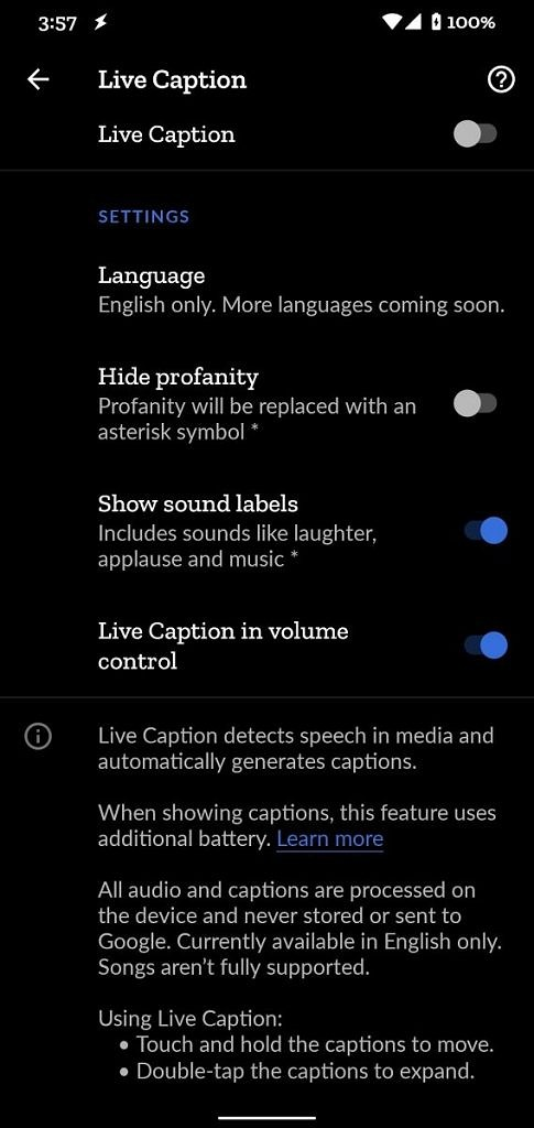 Pixel 4's Live Caption settings